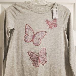 Butterfly Long Sleeve 10-12 Tee, NWT